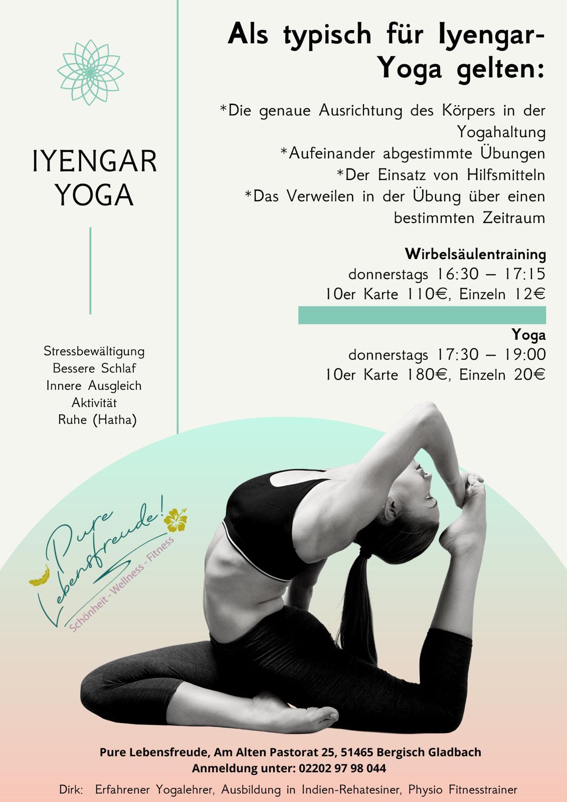 Flyer Iyengar-Yoga Wirbelsäulentraining